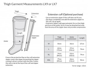 LX9 thigh measurement guide